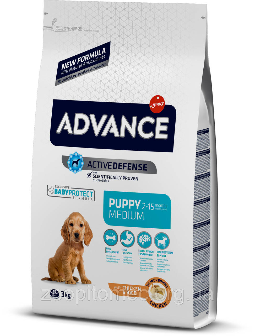 Корм ADVANCE (Эдванс) Puppy Medium для щенков средних пород (курица+рис),18 кг