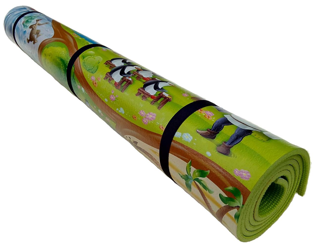 Детский коврик 2000×1200×8мм, «Мадагаскар», теплоизоляционный, развивающий, игровой коврик.