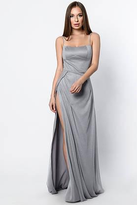 Нарядное вечернее платье в пол с разрезом серое, фото 2