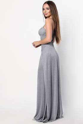 Нарядное вечернее платье в пол с разрезом серое, фото 3