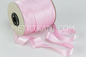 Бейка атласная 20 мм светло-розового цвета . № А 2-19