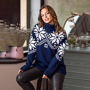 Теплый вязаный свитер Снежка синего цвета