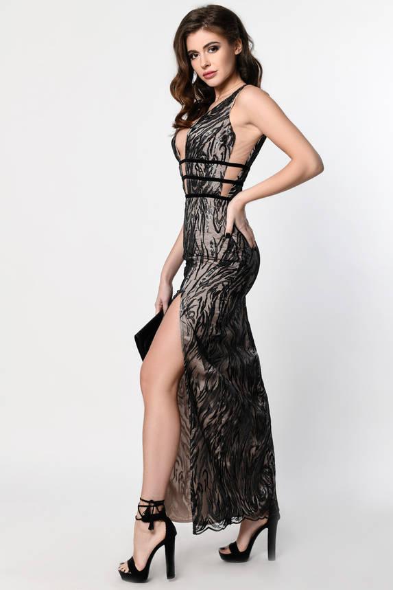 Длинное вечернее платье с пайетками и открытой спиной, фото 2