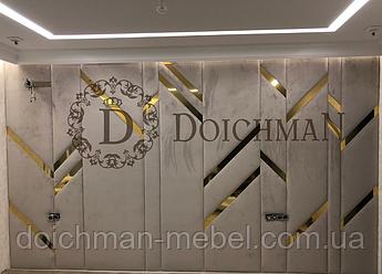 Мягкие панели с золотыми вставками
