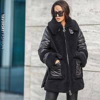 Стильная женская зимняя куртка из плащёвки и искусственного меха  S/M, L/XL