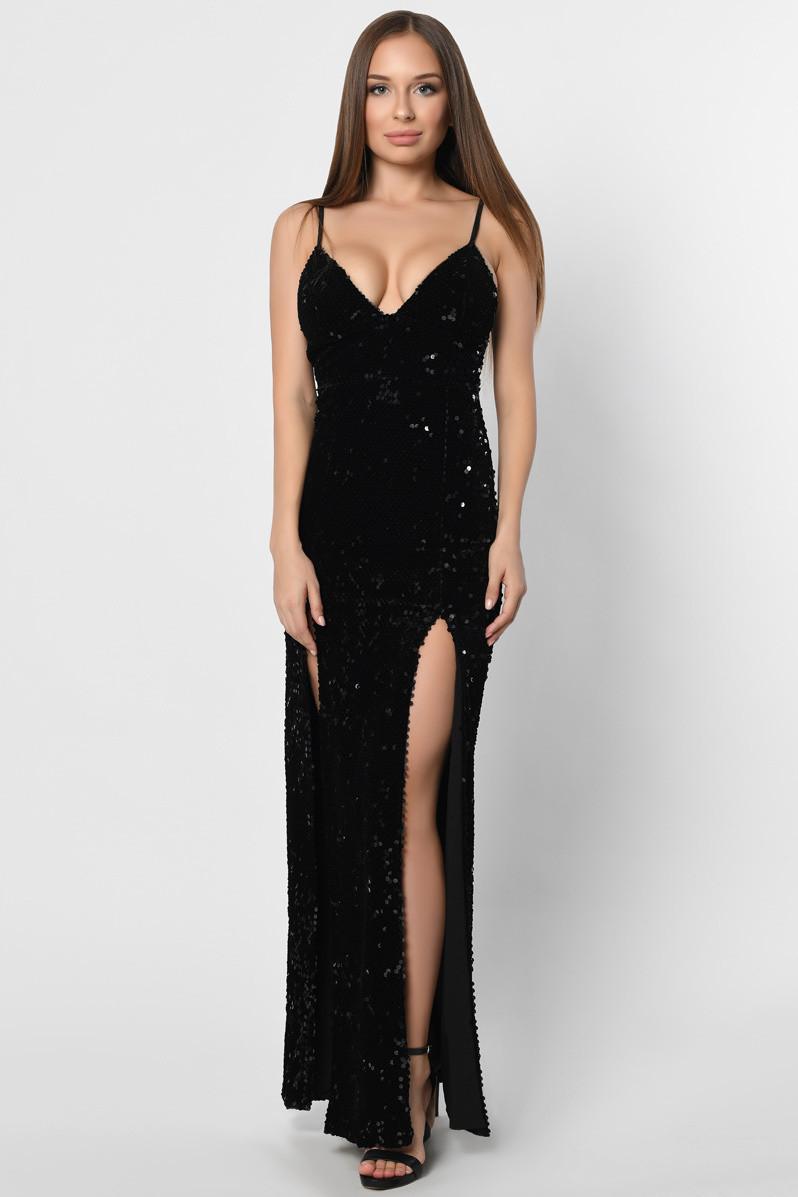 Длинное вечернее платье с пайетками черное