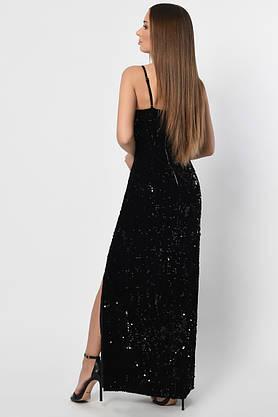 Длинное вечернее платье с пайетками черное, фото 2