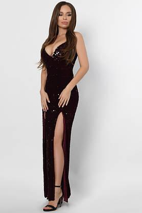 Длинное вечернее платье с пайетками бордовое, фото 2