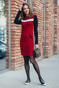 Сукня-светр Мілана (вишня, білий, чорний)