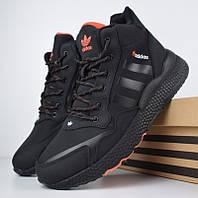Зимние мужские кроссовки Adidas Jogger черные с оранжевым 41-46рр. Живое фото. Реплика