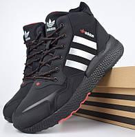 Зимние мужские кроссовки Adidas Jogger черные (серебристые полоски) 41-46рр. Живое фото. Реплика