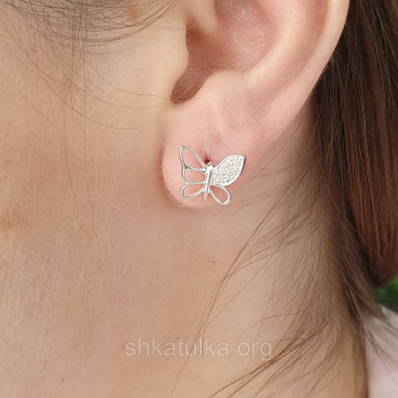 Срібні сережки пуссети метелики з білими фіанітами