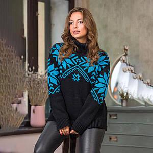 Теплый вязаный свитер Снежка черного цвета