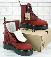 Женские зимние ботинки Dr. Martens Platform JADON Boot Bordo с мехом 36-40рр. Реальное фото. Топ реплика