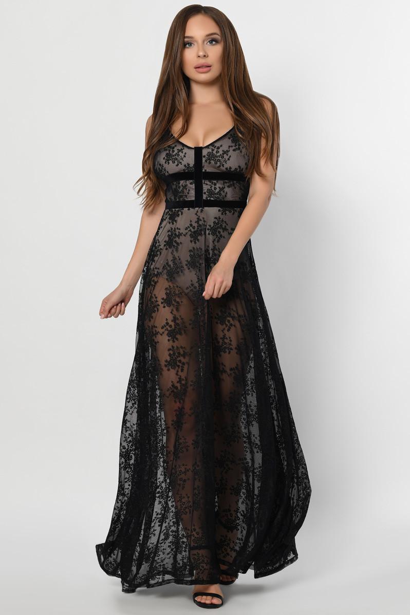 Нарядное вечернее платье в пол с вышивкой