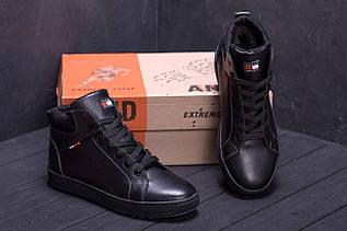 Мужские зимние кожаные ботинки в стиле черные