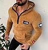 Мужская кофта кенгуру The North Face с капюшоном мягкая коричневая. Живое фото