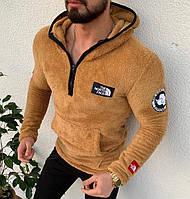 Мужская кофта кенгуру The North Face с капюшоном мягкая коричневая. Живое фото, фото 1