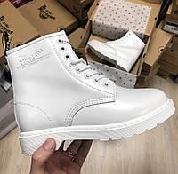 Женские зимние ботинки Dr. Martens 1460 полностью белые с мехом 36-40рр. Реальное фото. Топ реплика