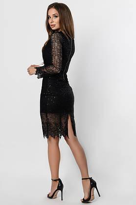 Красивое вечернее платье-миди с кружевом черное, фото 2
