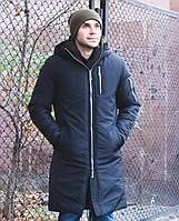 Зимняя мужская куртка с капюшоном длинная со змейками черного цвета. Живое фото, фото 1