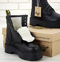 Ботинки зимние женские Dr. Martens Platform JADON Mono черные с мехом 36-40рр. Фото в живую. Топ реплика