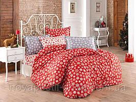 Снежинки красные, постельное белье из турецкого 100% хлопка премиум