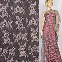 Кружевное полотно стрейч мелкие розочки пепельно-розовое, ш.150 (11106.055)