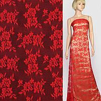 Кружевное полотно стрейч мелкие розочки красное, ш.145 (11106.058)