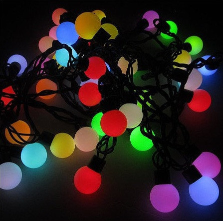 Новогодние гирлянды | Гирлянды | Гирлянда матовый шарик 40LED 5м (флеш) 18мм (ЧП) RGB RD-7102