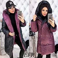 КФ9457 Стильная женская двухсторонняя зимняя куртка