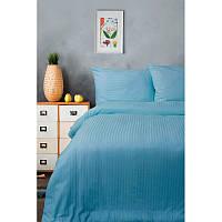 Новогоднее постельное белье Lotus страйп сатин голубой семейный