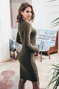 Платье с красивым декольте Грэйс (хаки)