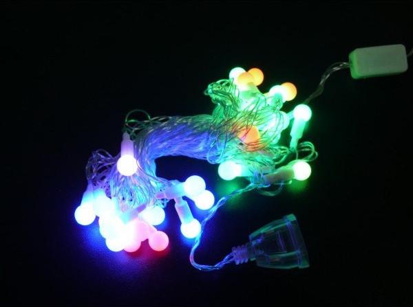 Новогодние гирлянды | Гирлянды | Гирлянда прозрачный шарик 28LED 5м (флеш) 10мм (ЧП) RGB RD-7101