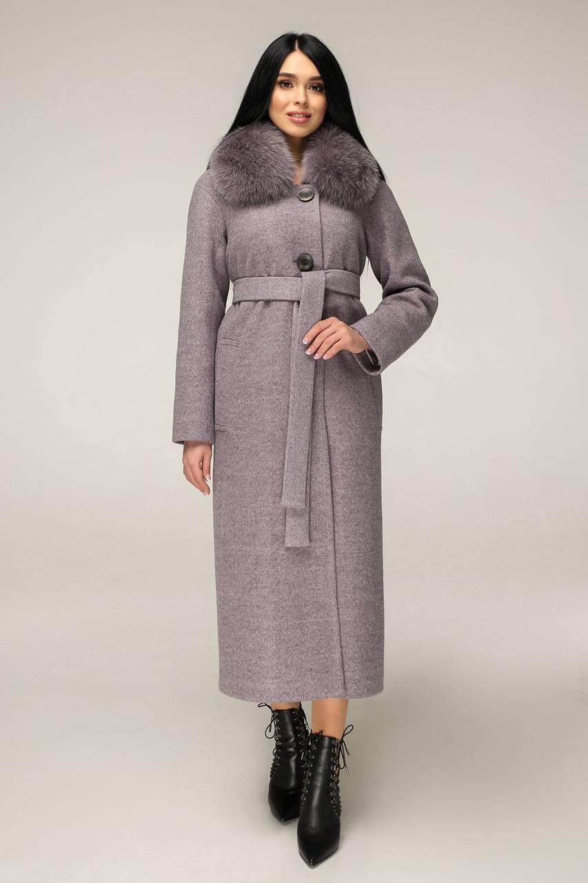Зимове жіноче пальто з натуральним хутром