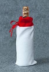 Новогодний мешок для бутылки Колокольчики белый с серебром