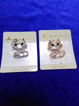 Брошка Кітті золото срібло