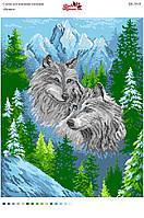 Схема на Канве для вышивки нитками «Волки»