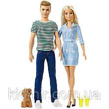 Набір ляльок Барбі і Кен Прогулянка з цуценям Barbie Ken and Puppy FTB72