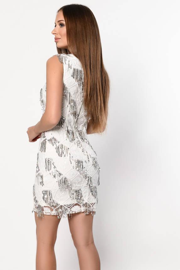 Коктейльное платье-мини белого цвета с пайетками, фото 2