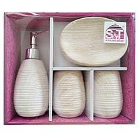 Набор аксессуаров для ванной комнаты 4 пр. Белый Ясень SNT 888-06-027