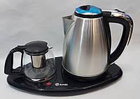 Чайник электрический 2 л  с заварником 0,75 л  Domotec DT903 2000 Вт