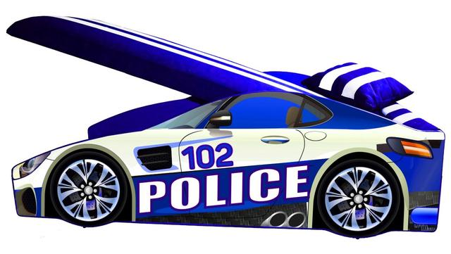 Кровать детская машина серии Elit Е-8 Police blue (Фото 2)