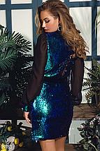 Яркое вечернее платье мини на запáх  с двухсторонней пайеткой изумрудный, фото 2