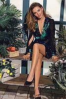 Яркое вечернее платье мини на запáх  с двухсторонней пайеткой изумрудный