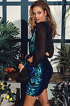 Яркое вечернее платье мини на запáх  с двухсторонней пайеткой изумрудный, фото 3