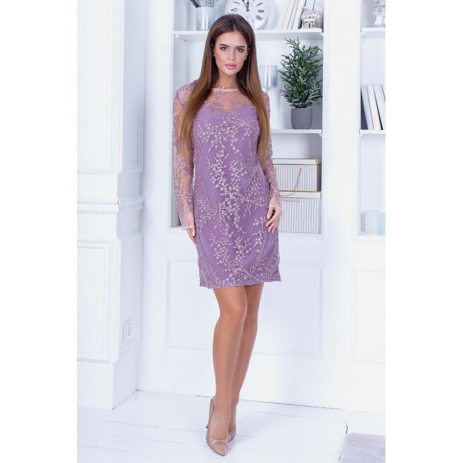 Нарядна сукня з розшитої сітки на підкладі