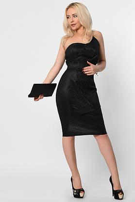 Коктейльное платье-футляр с открытыми плечами черное, фото 3
