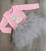 Детское платье с длинным рукавом для девочки размер 92, 110 на 3-6 лет Полномерные Турция
