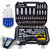 ТРИ Набора инструментов (профессиональный  108 ед.Mastertool 78-5108+набор ключей 12 шт+набор отверток 6 шт)